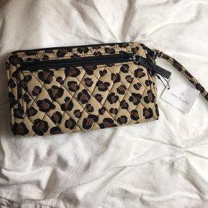 New Vera Bradley leopard Front Zip Wristlet!